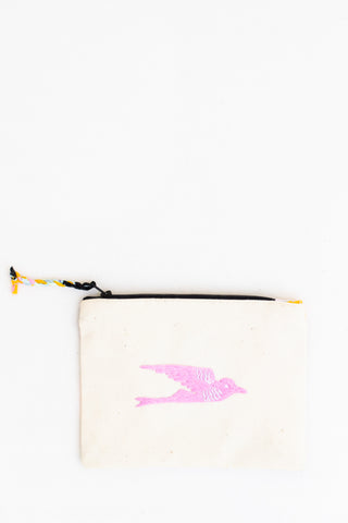 Embroidered Swallow Pouch, Phlox