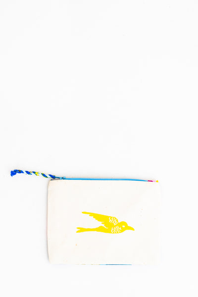 Embroidered Swallow Pouch, Lemon