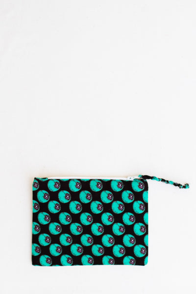 Embroidered Swallow Pouch, Turquoise