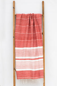 Handwoven Bath Sheet, Cornelian