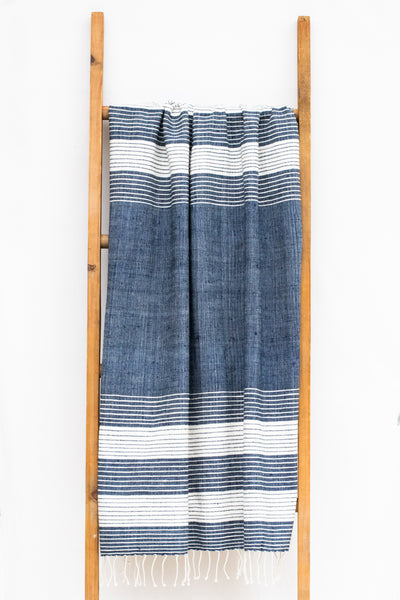 Handwoven Bath Sheet, Azurite