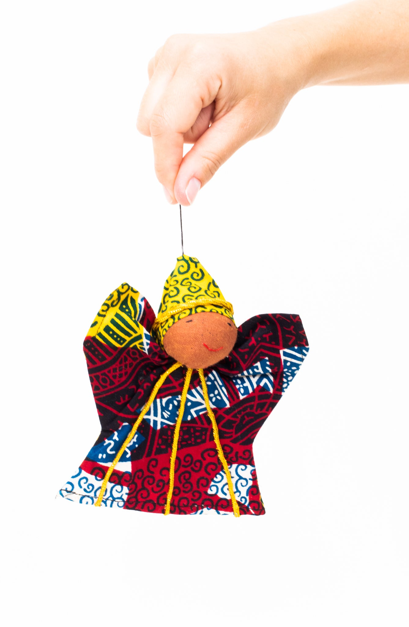 Kitenge Angel Ornament, Citrine