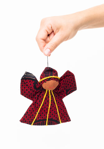 Kitenge Angel Ornament, Garnet