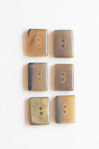 "Rectangular Cow Horn Buttons, 1"" x .75"", Java"