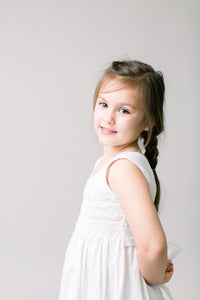Hand Smocked Dress, White