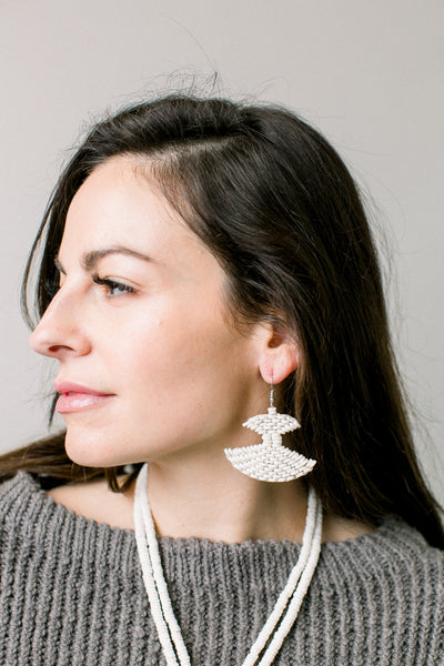Ostrich Eggshell Fan Earrings, Natural