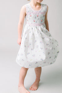Hand Smocked Dress, Pastel Bouquet