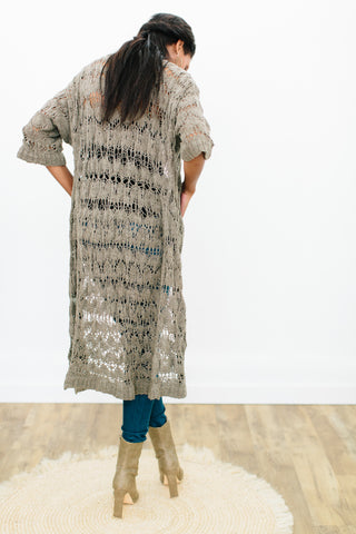 Kwezi Maxi Lace Cardigan in Ethiopian Cotton