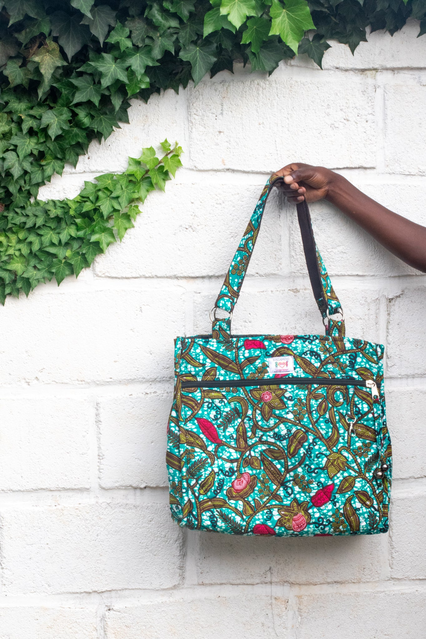 Wax Print Tote, Passion Vine