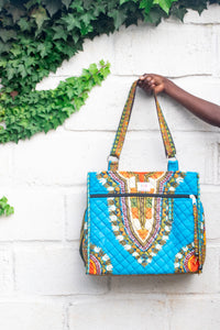 Wax Print Tote, Peacock Dashiki