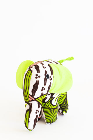 Plush Kitenge Elephant, Limeaid