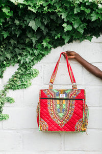 Wax Print Tote, Ruby Dashiki