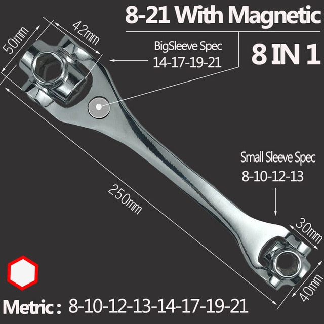 Tiger Wrench 48/8 IN 1 Socket Spanner - Ball Earrings General Store