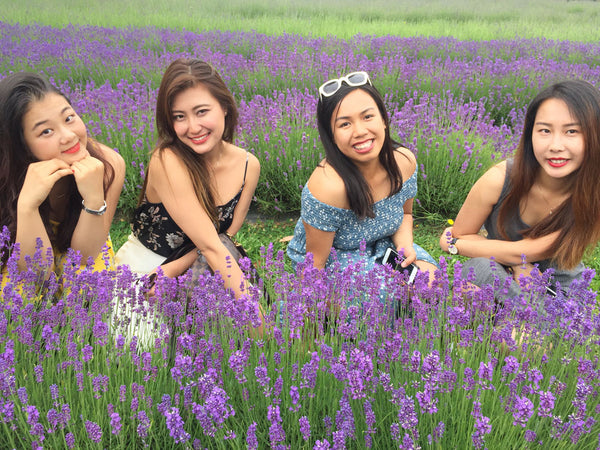 Beautiful ladies with lavender field at Lavender Backyard Garden