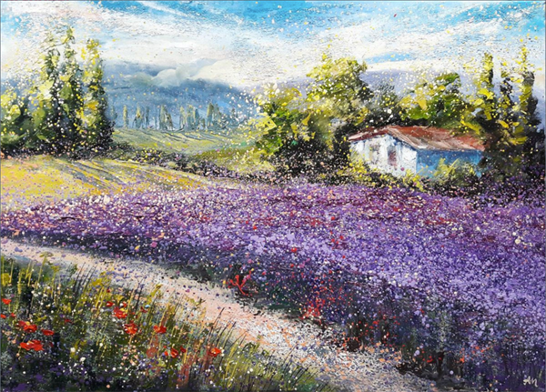 Lavender kiss in the air by Nadins Paintings. Lavender Backyard Garden, NZ lavender farm.