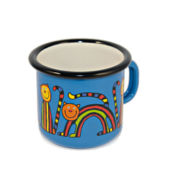 Camping Bowl, Camping, Outdoor, Enamelware, Enamel Mug, Coffee Mug, Kids Gift, Cute, Animal, Cat, Bright Blue