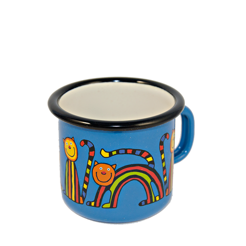 Camping Mug, Camping, Outdoor, Enamelware, Enamel Mug, Coffee Mug, Kids Gift, Cute, Animal, Cat, Blue