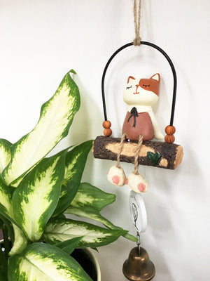 Cat on the Swing Wind Chime (Cream)