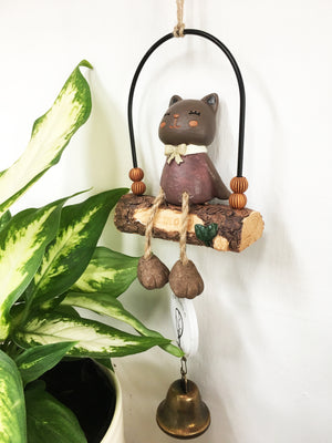 Cat on the Swing Wind Chime (Dark)