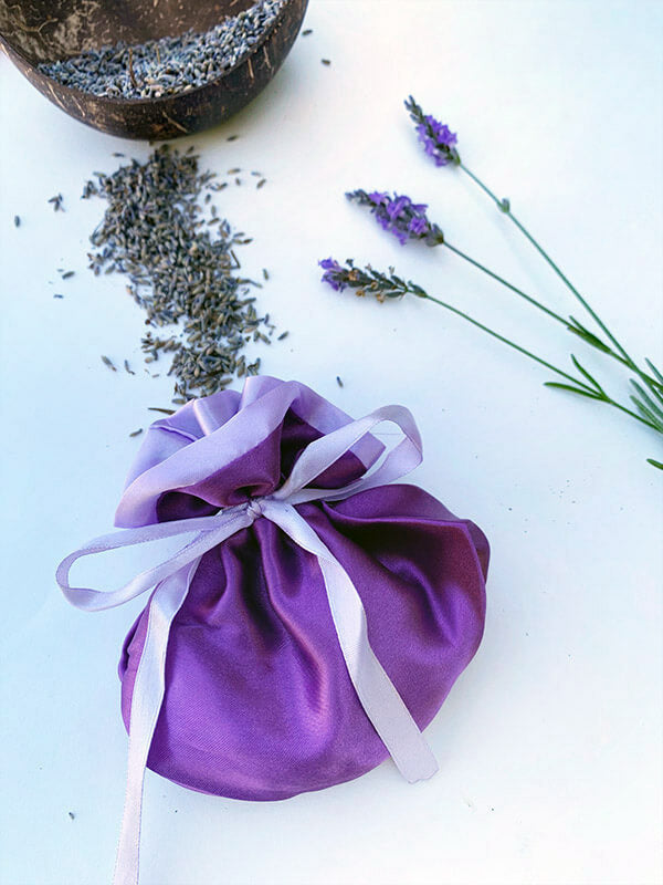 Luxury Satin Lavender Sachet Bag, Lavender Backyard Garden