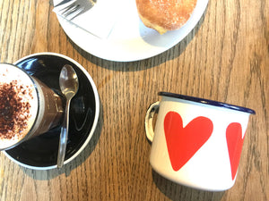 Regular Enamel Mug - Heart Coffee Mug