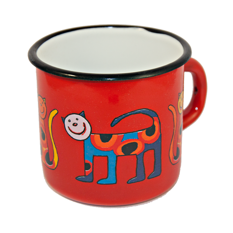 Camping Bowl, Camping, Outdoor, Enamelware, Enamel Mug, Coffee Mug, Extra Large, Gift, Cute, Animal, Cat, Red