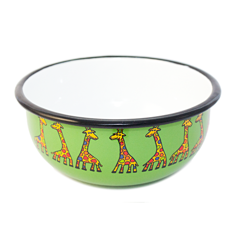 Camping Bowl, Camping, Outdoor, Enamelware, Enamel Mug, Coffee Mug, Kids Gift, Cute, Giraffe, Animal, Green