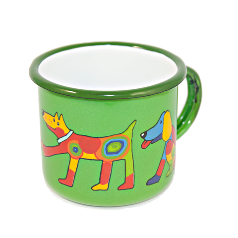 Camping Bowl, Camping, Outdoor, Enamelware, Enamel Mug, Coffee Mug, Kids Gift, Cute, Animal, Dog, Green