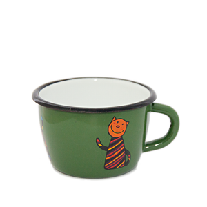 Camping Bowl, Camping, Outdoor, Enamelware, Enamel Mug, Coffee Mug, Kids Gift, Cute, Giraffe, Cat, Green
