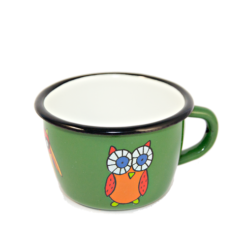 Camping Bowl, Camping, Outdoor, Enamelware, Enamel Mug, Coffee Mug, Kids Gift, Cute, Animal, Owl, Green