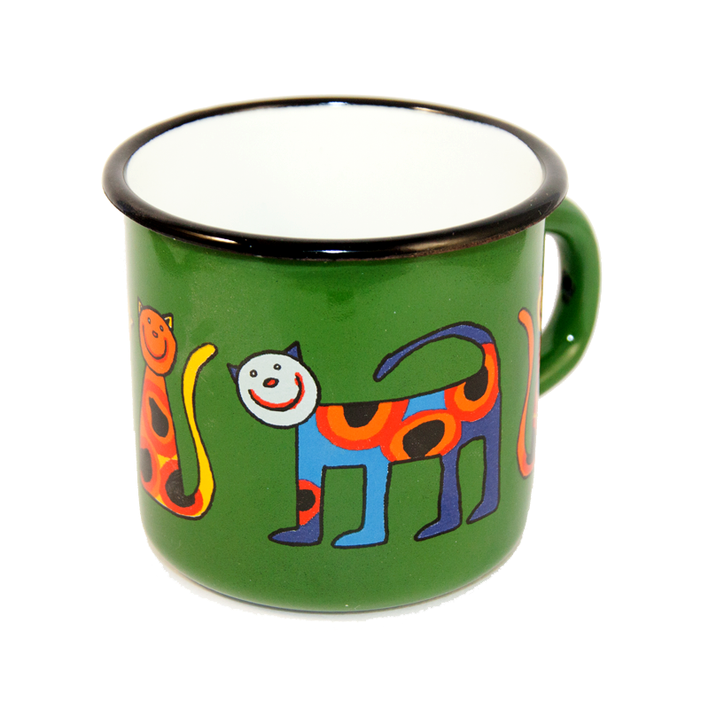 Camping Bowl, Camping, Outdoor, Enamelware, Enamel Mug, Coffee Mug, Kids Gift, Cute, Animal, Cat, Green