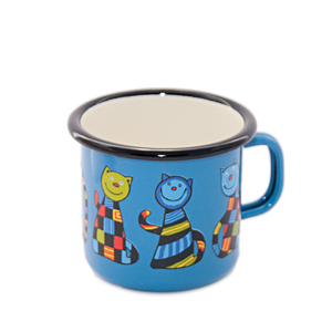 Camping Bowl, Camping, Outdoor, Enamelware, Enamel Mug, Coffee Mug, Kids Gift, Cute, Animal, Cat, Birght Blue