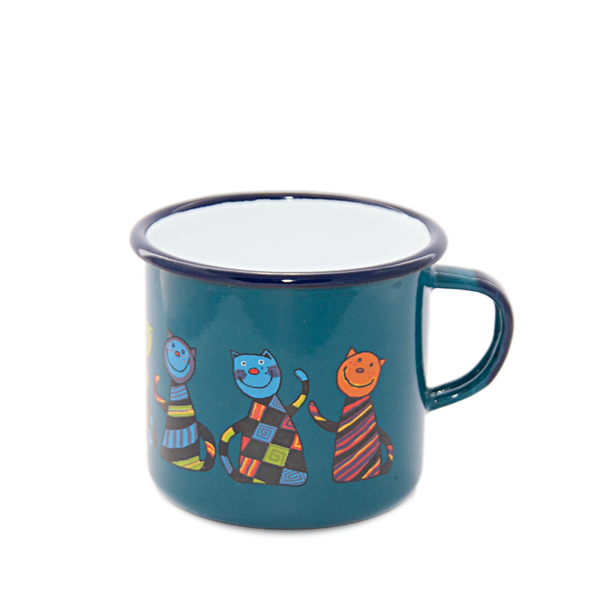 Camping Bowl, Camping, Outdoor, Enamelware, Enamel Mug, Coffee Mug, Kids Gift, Cute, Animal, Cat, Petrol