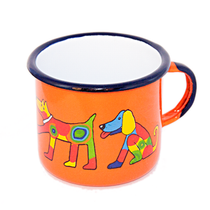 Camping Bowl, Camping, Outdoor, Enamelware, Enamel Mug, Coffee Mug, Extra Large, Gift, Cute, Animal, Dog, Orange