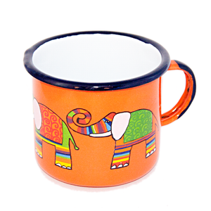 Open image in slideshow, Camping Bowl, Camping, Outdoor, Enamelware, Enamel Mug, Coffee Mug, Extra Large, Gift, Cute, Animal, Elephant, Orange