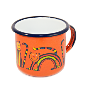 Camping Bowl, Camping, Outdoor, Enamelware, Enamel Mug, Coffee Mug, Gift, Cute, Animal, Cat, Orange