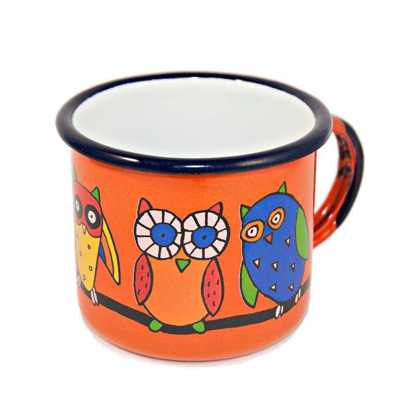 Camping Bowl, Camping, Outdoor, Enamelware, Enamel Mug, Coffee Mug, Kids Gift, Cute, Animal, Owl, Orange