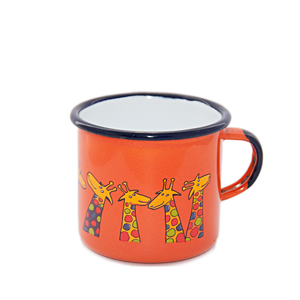 Camping Bowl, Camping, Outdoor, Enamelware, Enamel Mug, Coffee Mug, Kids Gift, Cute, Animal, Giraffe, Orange
