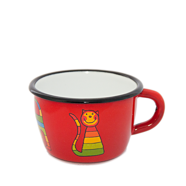 Camping Bowl, Camping, Outdoor, Enamelware, Enamel Mug, Coffee Mug, Kids Gift, Cute, Animal, Cat, Red