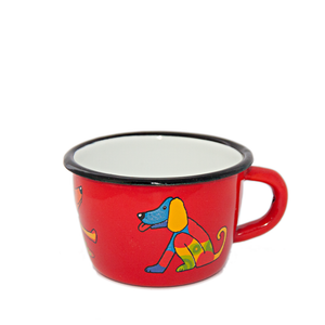 Open image in slideshow, Camping Bowl, Camping, Outdoor, Enamelware, Enamel Mug, Coffee Mug, Kids Gift, Cute, Giraffe, Dog, Red