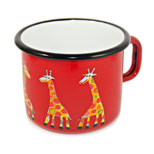 Camping Bowl, Camping, Outdoor, Enamelware, Enamel Mug, Coffee Mug, Extra Large, Gift, Cute, Animal, Giraffe, Red