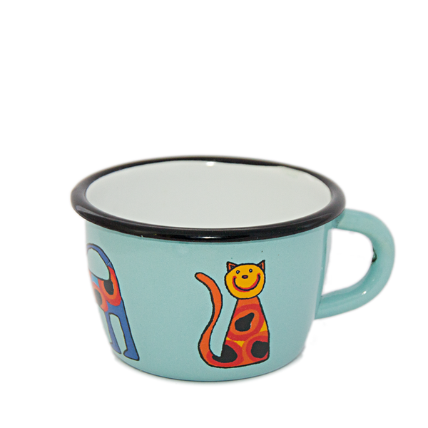 Camping Bowl, Camping, Outdoor, Enamelware, Enamel Mug, Coffee Mug, Kids Gift, Cute, Animal, Cat, Auqa, Light Blue