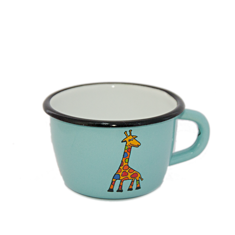 Camping Bowl, Camping, Outdoor, Enamelware, Enamel Mug, Coffee Mug, Kids Gift, Cute, Animal, Giraffe, Aqua, Light Blue