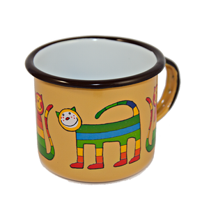 Open image in slideshow, Camping Bowl, Camping, Outdoor, Enamelware, Enamel Mug, Coffee Mug, Kids Gift, Cute, Animal, Cat, Yellow
