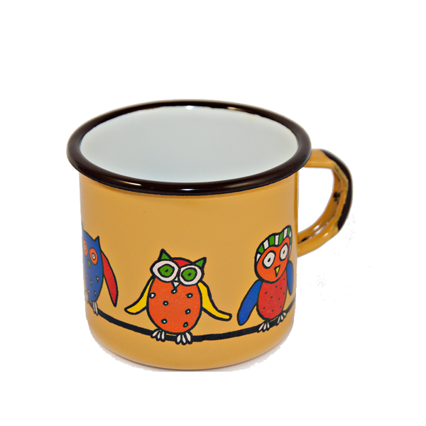 Camping Bowl, Camping, Outdoor, Enamelware, Enamel Mug, Coffee Mug, Kids Gift, Cute, Animal, Owl, Yellow