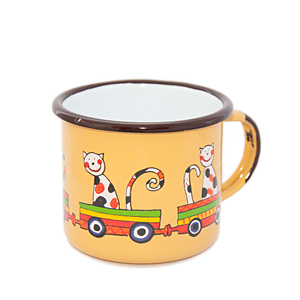 Camping Bowl, Camping, Outdoor, Enamelware, Enamel Mug, Coffee Mug, Kids Gift, Cute, Animal, Dog, Cat, Train, Yellow