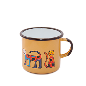 Camping Bowl, Camping, Outdoor, Enamelware, Enamel Mug, Coffee Mug, Kids Gift, Cute, Animal, Cat, Yellow
