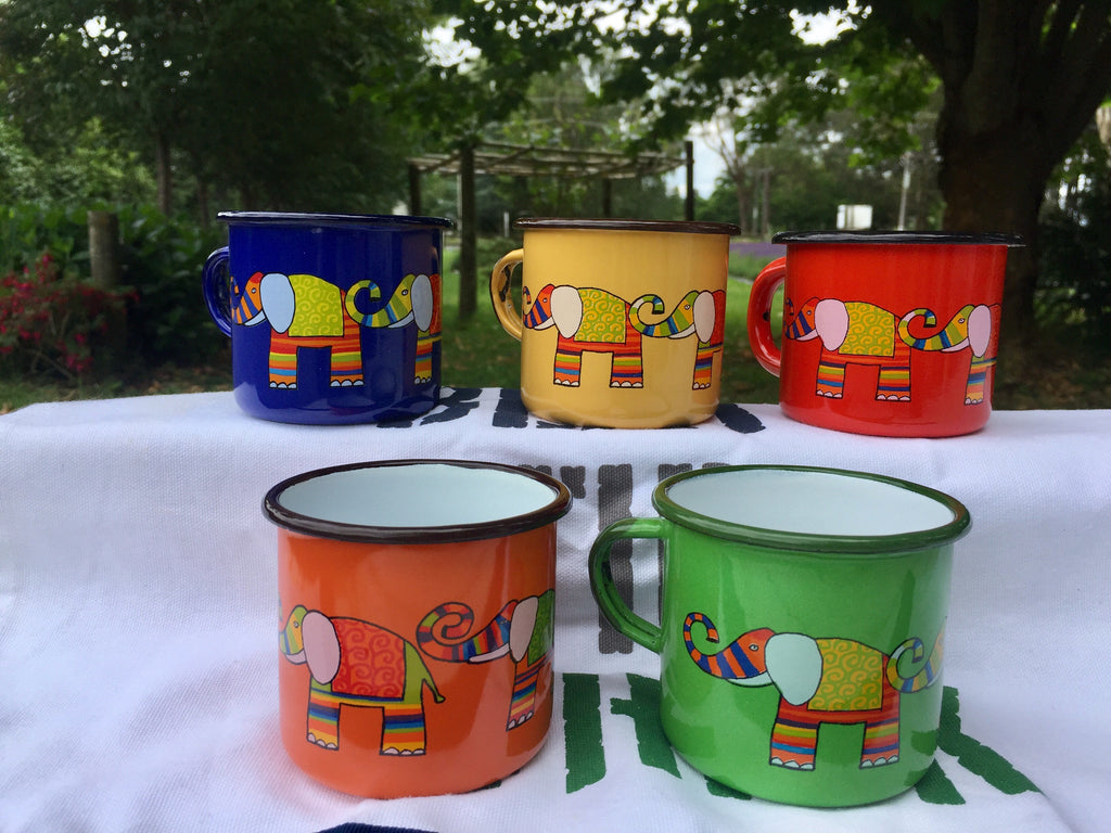 Smaltum Elephant Enamel Mug at Lavender Backyard Garden
