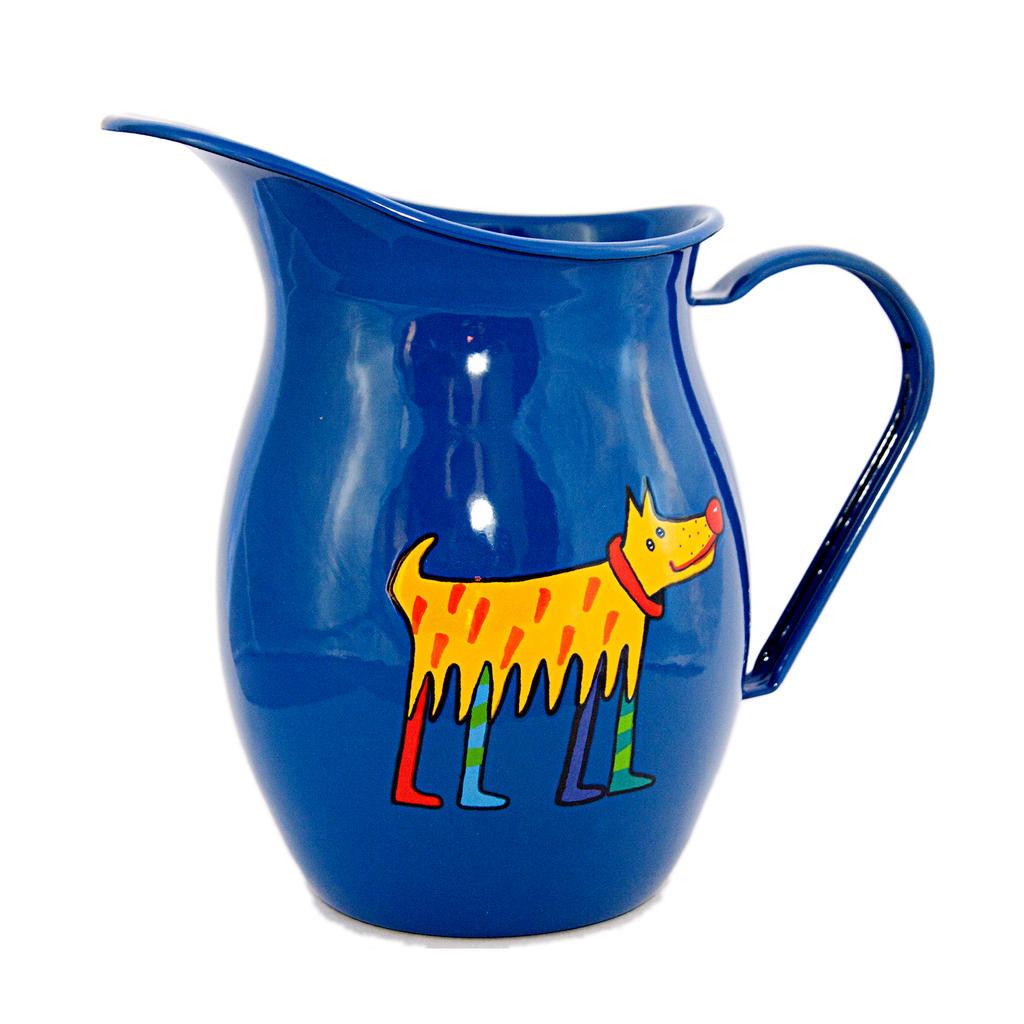 Camping Bowl, Camping, Outdoor, Enamelware, Enamel Mug, Coffee Mug, Pitcher, Gift, Cute, Animal, Dog, Blue