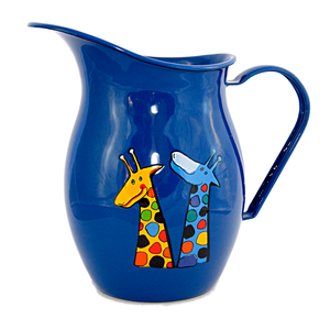 Camping Bowl, Camping, Outdoor, Enamelware, Enamel Mug, Coffee Mug, Pitcher, Gift, Cute, Animal, Giraffe, Blue
